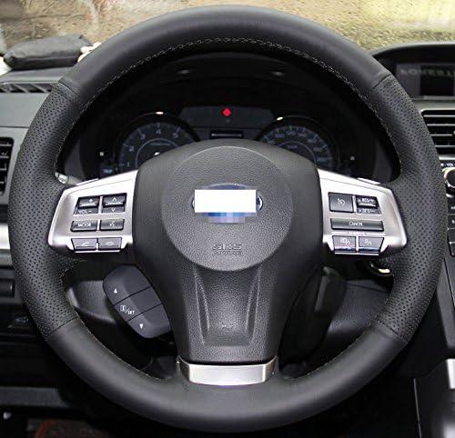 Forester 2014-2016 Black thread Outback Legacy 2012-2014 Eiseng DIY Steering Wheel Cover for Subaru Impreza 2013 2014 2015 2016 XV Crosstrek 2013-2015 Interior Accessories Genuine Leather Sew