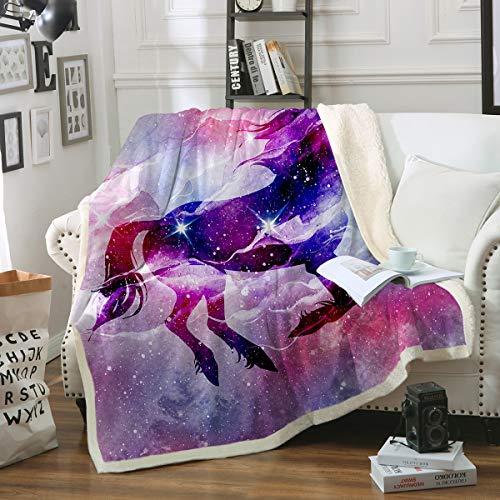 Girls Of Pegasus - Sleepwish Galaxy Unicorn Blanket Purple Space