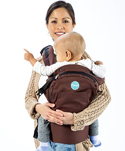 Mo+m Ergonomic Baby Sling Carrier w/ Mesh Cooling Vent, Hood & Pockets (Chocolate Brown)