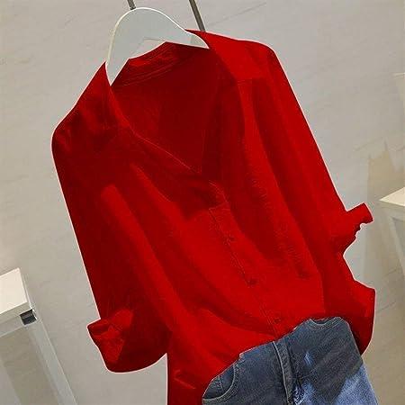 Camisa Blusas Y Blusas Blancas For Mujer Blusa De Algodon Con Cuello En V Solido Y Media Manga Blusas De Trabajo Femenino Blusa Tallas Grandes Color Red Size L Amazon Es