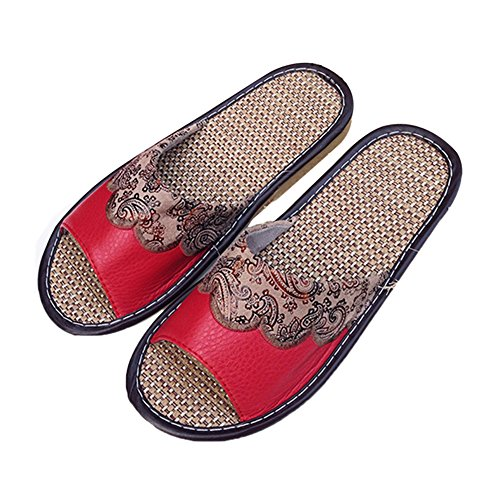 Red TELLW Chaussons pour Femme Women FwxUOPq