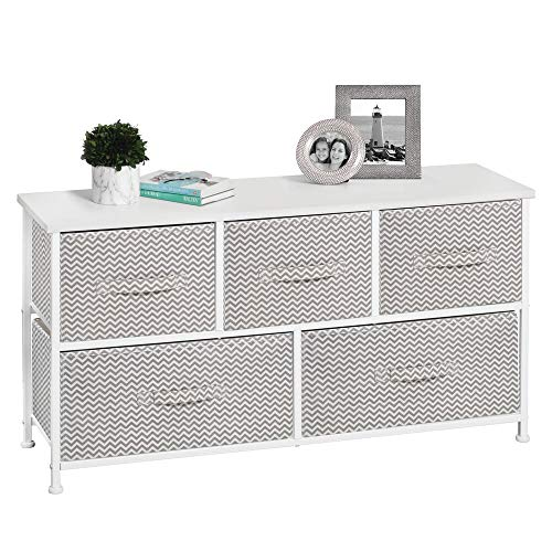 mDesign Extra Wide Dresser Storage Tower - Sturdy Steel Frame, Wood Top, Easy Pull Fabric Bins - Organizer Unit for Bedroom, Hallway, Entryway, Closets - Chevron Print - 5 Drawers - Taupe/Natural