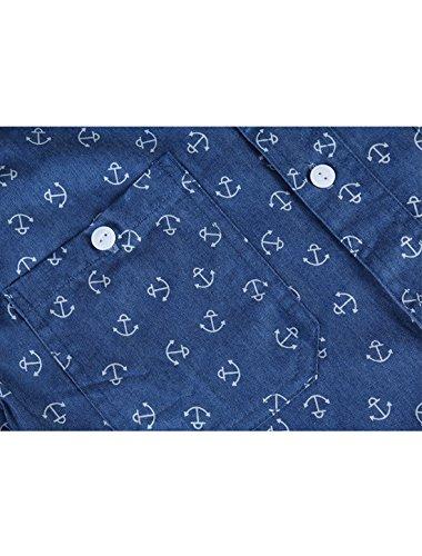 Uxcell Allegra Hommes K Impressions D'ancrage Boutonné Chemise Denim Bleu Marine