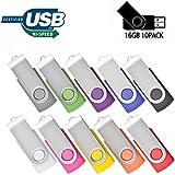 16GB USB Flash Drive 10 Pack Memory Stick JBOS Swivel Thumb Drives Gig Stick USB2.0 Pen Drive for Fold Digital Date Storage, Zip Drive, Jump Drive, Flash Stick, Disk Key, USB Stick, Mixed Colors