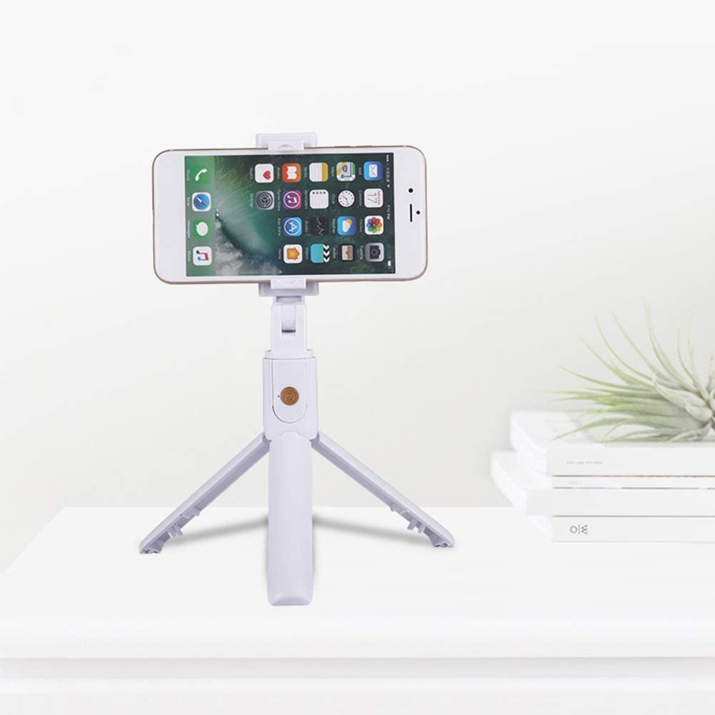 Misszhang-US K07 Phone Wireless Bluetooth Selfie Stick Tripod Remote Shutter for Android iOS White