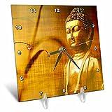 3dRose Sven Herkenrath Buddha - Golden Buddha with Asia Bamboo Zen Yoga Faith Religion - 6x6 Desk Clock (dc_266209_1)