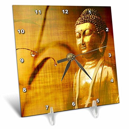 3dRose Sven Herkenrath Buddha - Golden Buddha with Asia Bamboo Zen Yoga Faith Religion - 6x6 Desk Clock (dc_266209_1) by 3dRose