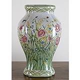 Home decor. White Green Floral Fishtail Vase. Dimension: 8 x 7 x 14. Pattern: Hampton Wind.