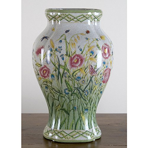 Home decor. White Green Floral Fishtail Vase. Dimension: 8 x 7 x 14. Pattern: Hampton Wind. by OD001 (Image #1)
