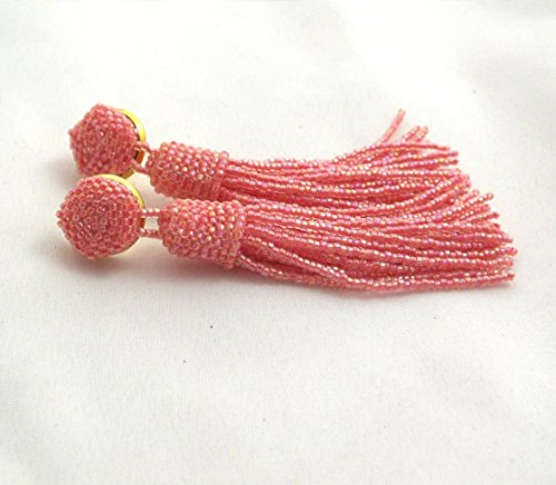(Beaded long tassel earrings, pink coral tassle earrings, statement seed beads earrings, bridesmaid gifts earrings, women earrings)