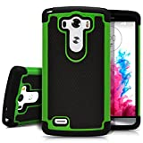 LG G3 Case, MagicMobile [Dual Armor Series] Rugged Durable [Impact Shockproof Resistant] Double Layer Cover [Hard Shell] & [Flexible Silicone] Case for LG G3 Case - Black / Green