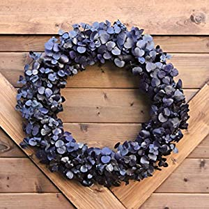 Handmade Natural Eucalyptus Stem Wreath | Solid Plum Purple Home Accent | Preserved Washed Dried Eucalyptus 120