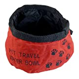 Como Portable Red Folded Pet Dog Cat Camping Hiking Travel Food Water Bowl, My Pet Supplies