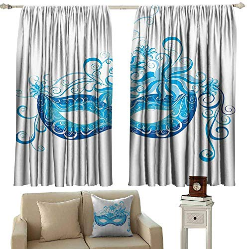 Anyangeight Kitchen Curtains Masquerade Decorations Collection,Venetian Mask Majestic Impersonating Enjoying Halloween Theme Image Print,Navy Turquoise 72
