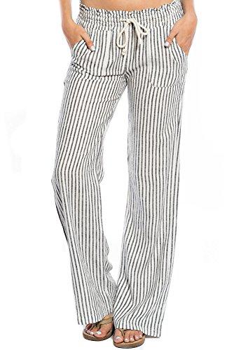 Womens Linen Drawstring Pants - 4