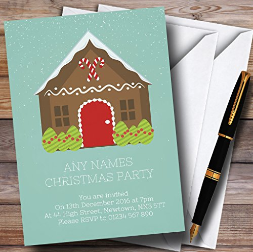 Party Gingerbread House Invitations (Green Gingerbread House Personalized Christmas/New Year/Holiday Party Inv.)