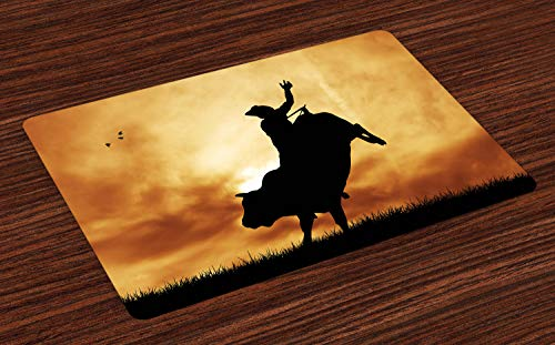 Lunarable Western Place Mats Set of 4, Bull Rider Silhouette at Sunset Dramatic Sky Rural Countryside Landscape Rodeo, Washable Fabric Placemats for Dining Room Kitchen Table Decoration, Amber Black