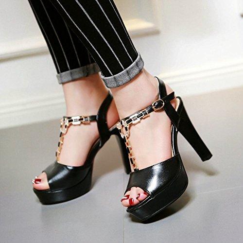 Carolbar Femmes Douce Boucle T-strap Strass Peep Toe Plate-forme Talon Haut Robe Sandales Noir