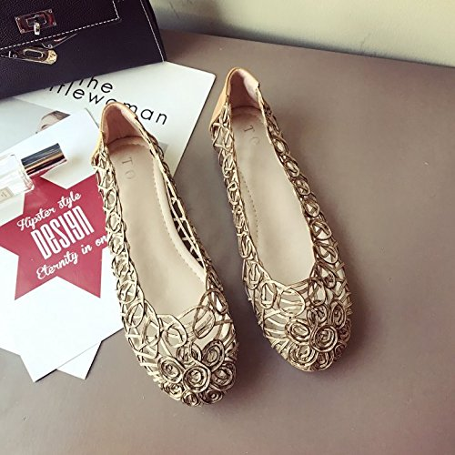 ZHANGJIA Spring and Summer Hollow Knitted Round Flat Flat Sandals Female Comfort Golden