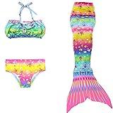 Kids Swimsuit/Swimming Wear, 3pcs Girls Mermaids Tail Swimsuit for Fishing,Scuba Diving Princess Bikini Set
