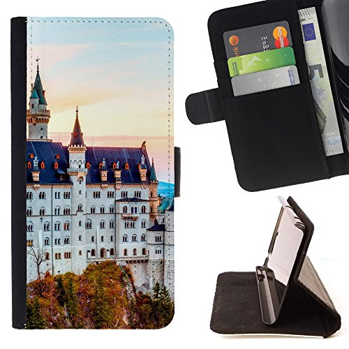 God Garden - FOR Apple Iphone 6 PLUS 5.5 - Neuschwanstein - Glitter Teal Purple Sparkling Watercolor Personalized Design Custom Style PU Leather Case Wallet Fli