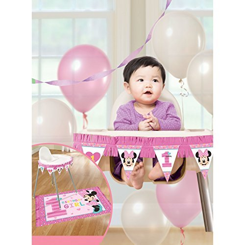 Amscan 1st Birthday Minnie Mouse High Chair Decorating Kit Party Supplies Minnie Fun to be One! ()