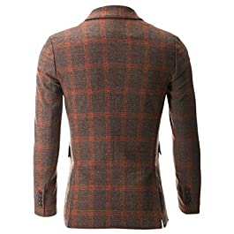 FLATSEVEN Mens Casual Orange Plaid Sport Coat Blazer Jacket