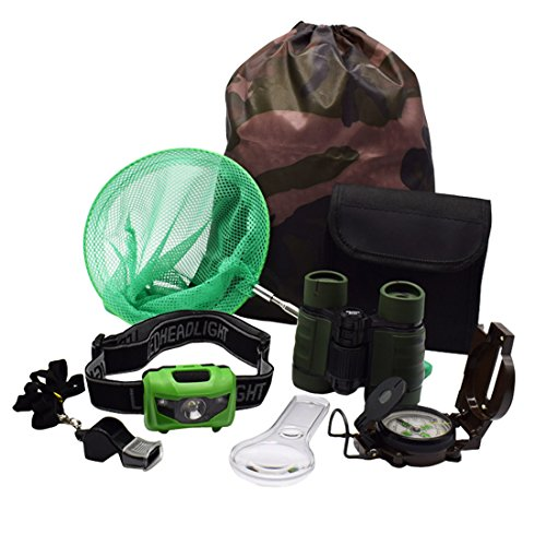 ShaqMars Kids Outdoor Adventure Set :Educational Children's Toys Binoculars, LED Headlamp Flashlight, Compass, Magnifying Glass Whistle Butterfly Net & Backpack(Camo color) Great Kidz Gift - Headlight Toy