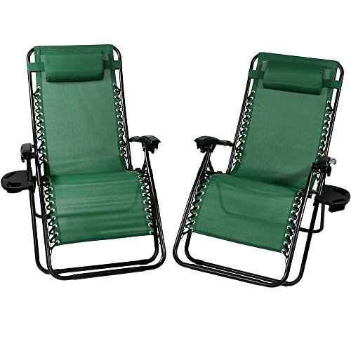 Chairs Folding Green Outdoor - Sunnydaze Outdoor XL Zero Gravity Lounge Chair with Pillow and Cup Holder, Folding Patio Lawn Recliner, Forest Green, Set of 2