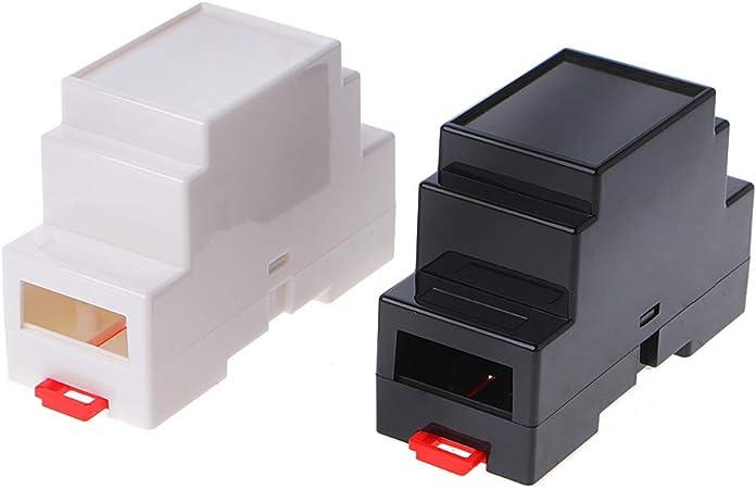 JOYKK Caja de componentes de plástico, 88 mm, Caja electrónica, Proyecto de Carril DIN Caja de Conexiones PLC - Blanco y Negro: Amazon.es: Hogar