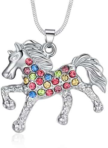 ELOI Multicolor Horse Pendant Pony Mustang Necklace Gifts for Little Girls Necklaces 18 Inches