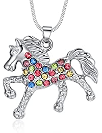Multicolor Horse Pendant Pony Mustang Necklace for Little Girls Necklaces 18 Inches