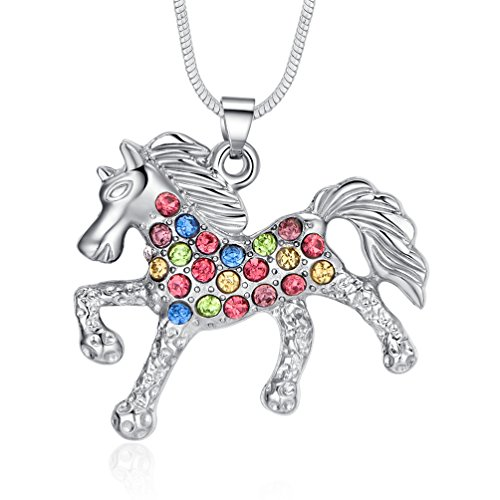 ELOI Multicolor Horse Pendant Pony Mustang Necklace for Little Girls Necklaces 18 Inches -