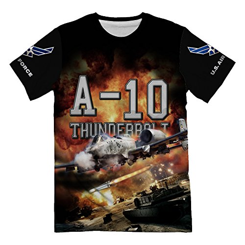 Personalized USAF Air Force Fighter A-10 Warthog Thunderbolt T-Shirt for Mens 3d Allover Printed Short Sleeve Top Tees (Usaf Warthog A10)