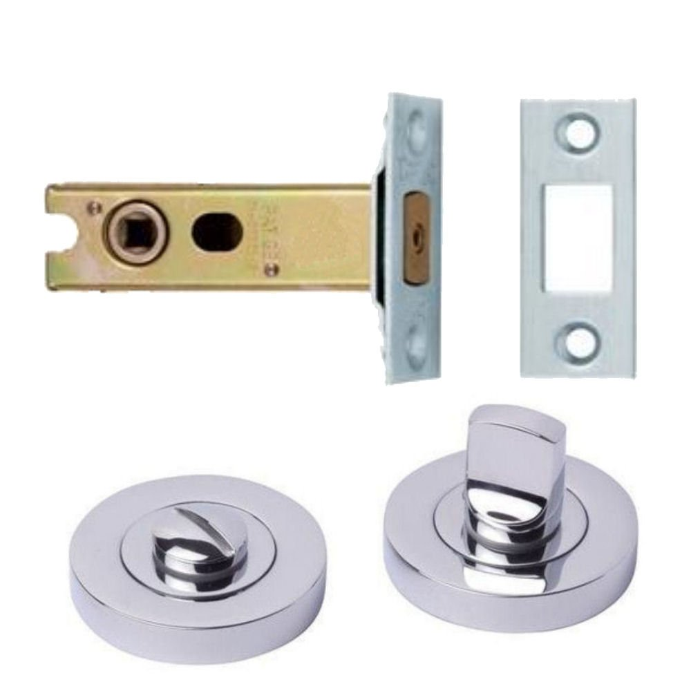 Polished Chrome Thumb & Turn with 76mm Steel Tubular Bathroom Dead Bolt Discount Hardware UK