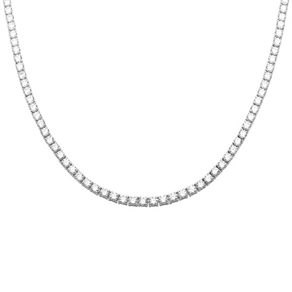 Sterling Silver 13.50CT Round Cubic Zirconia Tennis Necklace 20'' Long Colors Available