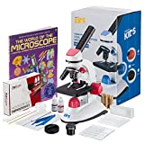 AMSCOPE-KIDS 40X-1000X Dual Illumination Microscope (Red) with Slide Prep Kit and Book