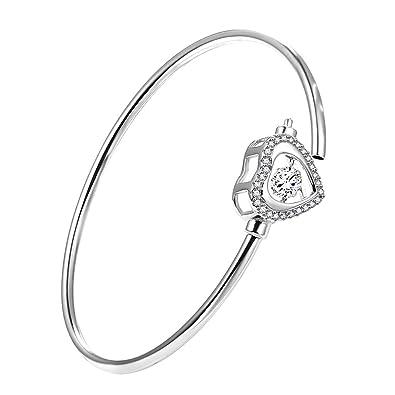 0499a2b8567d1 Soufeel Cadeau De Noël Cadeau Maman Bracelet Jonc Femme en Argent Sterling  925 Zirconium Cubique Jonc