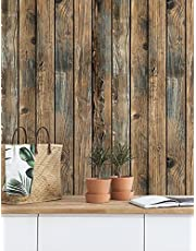 """Peel and Stick Wallpaper Retro Wood Wallpaper, Self-Adhesive Waterproof and Oil-Proof Decoration, Detachable Stickers, Bathroom and Bedroom Furniture (17.7""""x118.1"""")"""
