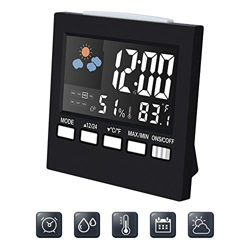 Digital Alarm Clock Led Desk Clock with Date Temperature humidity meter Backlight & Weather Channel Portable - Camping Trip Needs