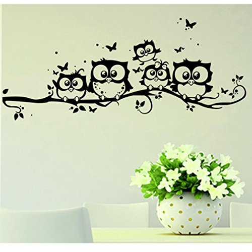 Price comparison product image TOPUNDER Kids Vinyl Art Cartoon Owl Butterfly Wall Sticker Decor Home Decal