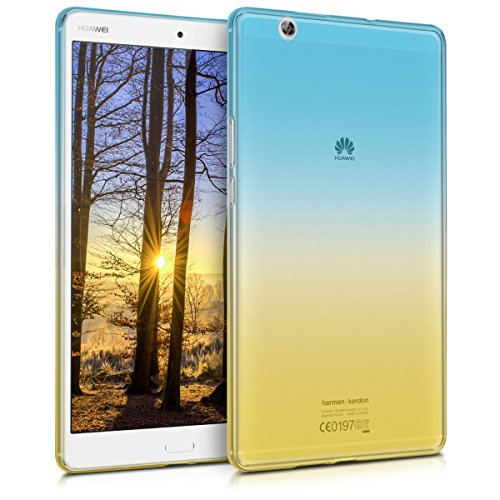 kwmobile TPU Silicone Case for Huawei MediaPad M3 8.4 - Soft Flexible Shock Absorbent Protective Cover - Bicolor Blue/Yellow/Transparent