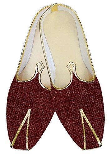 Inmonarch Mens Maroon Jute Chaussures De Mariage Mj014196