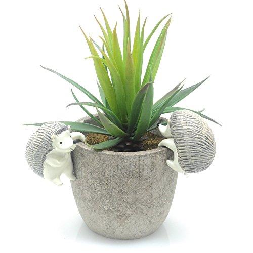 Velener Mini Home Decoration Artificial Plants Aloe with Pots Green, Set of 2