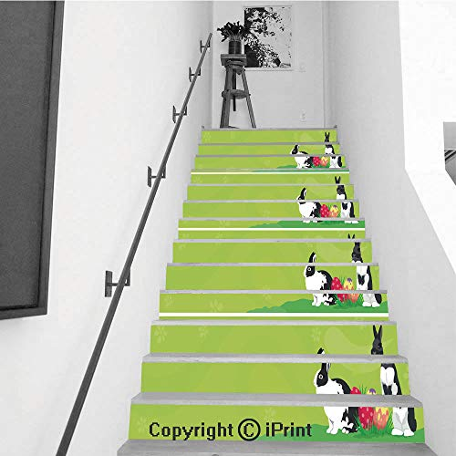 Rabbit Header - Stair Stickers Wall Stickers,13 PCS Self-Adhesive,Stair Riser Decal for Living Room, Hall, Kids Room,Easter Template Web Banner Header with Rabbits Colorful Easter Eggs and Blank Space for Text