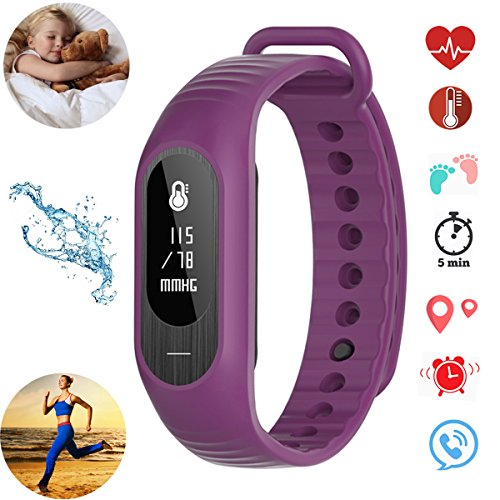 BOZLUN Smart Watch Band Blood Pressure Heart Rate Monitor Sport Fitness Tracker Sleep Activity Tracker IP67 Water Resistant for Girls and Kids (Amaranth) by BOZLUN