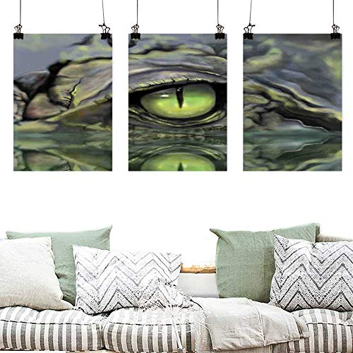 Agoza Printing Oil Painting Reptile Wild Scary Sketch Eye and Face Image of Crocodile in Water at Night Hunter Illustration Oil Canvas Painting Wall Art 3 Panels 24x47inchx3pcs Green Navy