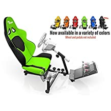 Openwheeler Racing Wheel Stand Cockpit Green on Black | For Logitech G29 | G920 and Logitech G27 | G25 | Thrustmaster | Fanatec Wheels | Racing wheel & controllers NOT included