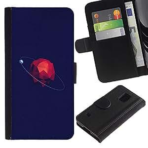 For Samsung Galaxy S5 V SM-G900,S-type® Polygon Minimalistic Space Blue - Dibujo PU billetera de cuero Funda Case Caso de la piel de la bolsa protectora