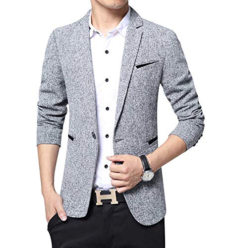 Men's Blazer Jacket Slim Fit One Button Sport Coat Notch Lapel Casual Business Solid Single Breasted Outwear (Dark Grey, M) ()